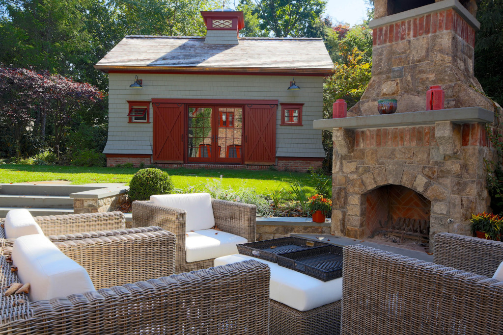 Outdoor seating around fireplace