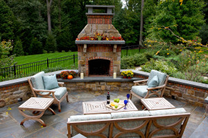 Enjoy the beautiful fall weather around your custom outdoor fireplace